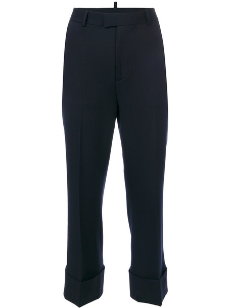 Dsquared2 cropped women spandex blue wool pants