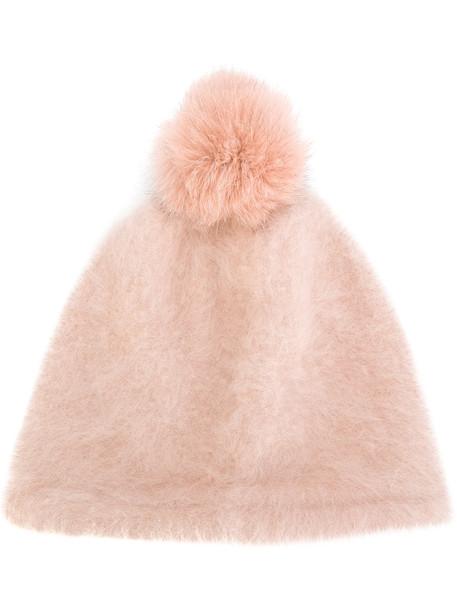 beanie pom pom beanie purple pink hat