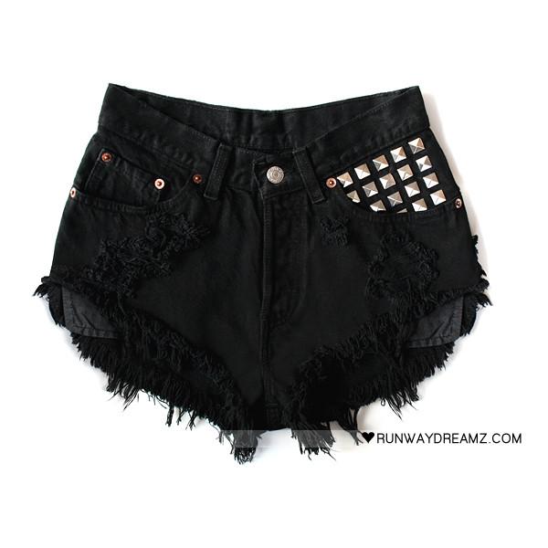 Runwaydreamz : Lara Vintage Jet Black Studded Shorts - Polyvore