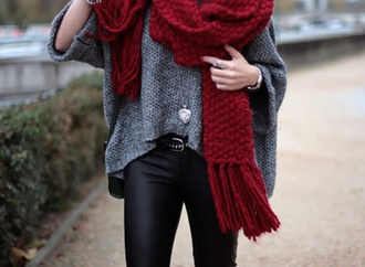 scarf red thick scarf red scarf thick scarf leather leggings leather pants heart jewel jewels grey sweater outside