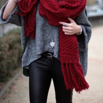 red scarf jewels scarf thick thick scarf leather leggings leather pants heart jewel grey sweater outside scarf red