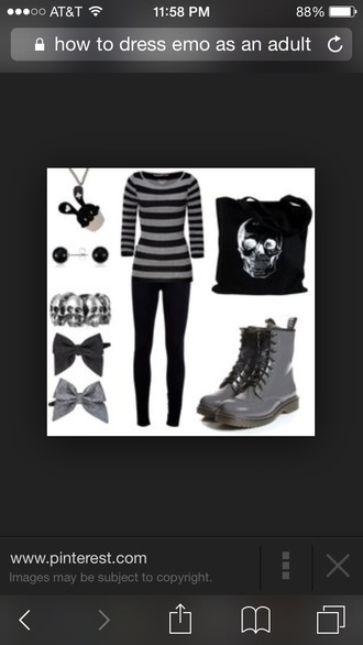 shirt grey black and gray stripes bracelets bows boots necklace bag jewels black and grey scull sculls combat boots black