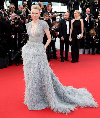 dress gown prom dress naomi watts cannes grey plunge v neck feathers red carpet dress