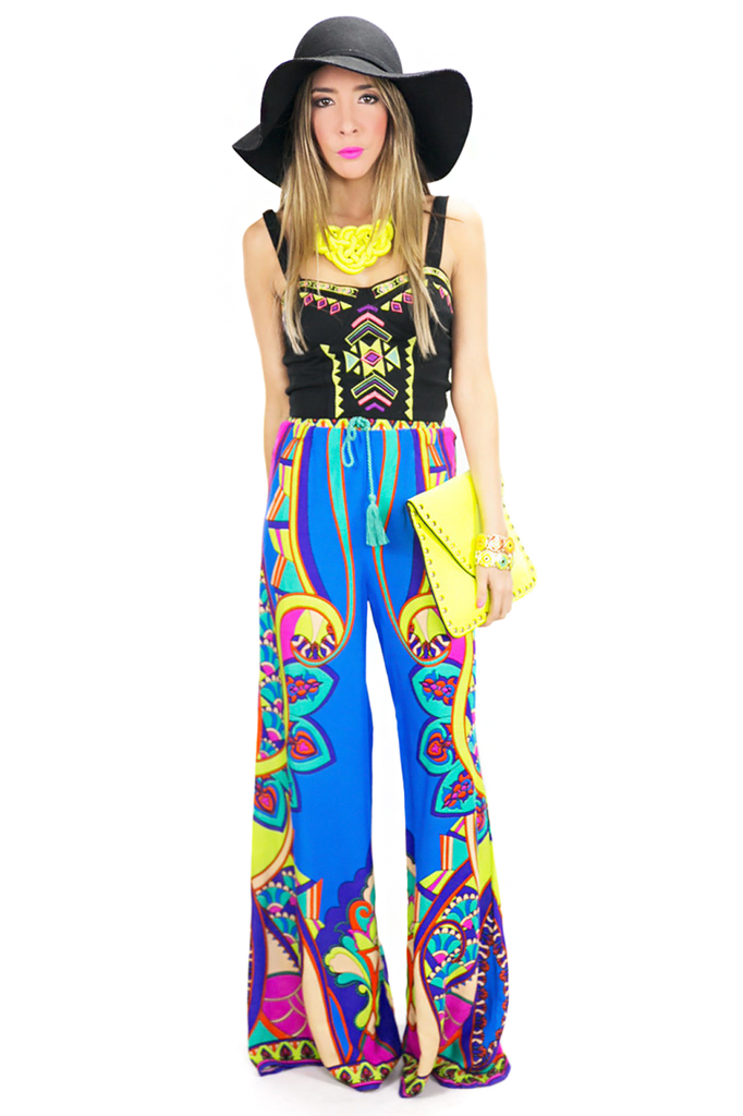 NATIVA TRIBAL PRINT PANTS - Blue | Haute & Rebellious