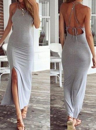 strappy back grey maxi dress strappy back dress dress grey grey dress maxi dress strappy summer dress sammydress style