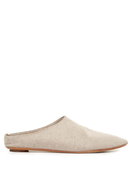 THE ROW Bea point-toe slippers in ivory