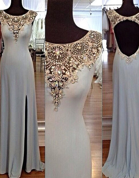 Charming sequins rhinestones round neck long prom dresses, evening dresses