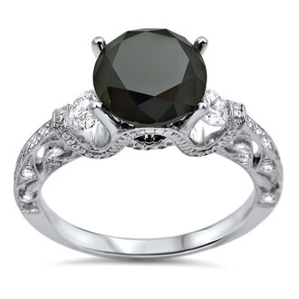 jewels round cut black diamond engagement ring four prong set black diamond ring gorgeous four-prong set black round diamond engagement ring in 18k white gold plated silver round black and white diamond engagement ring evolees.com