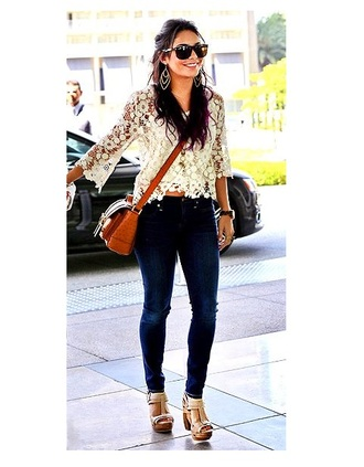 blouse vanessa hudgens fashion skinny jeans lace boho bohemian high heels shoes crochet floral jeans wedges cross body bag shirt