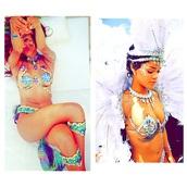 rihanna,festival,brazil,carnival,jewels,costume,riri dress,iridescent,rainbow,colorful,festival jewelry,fashion,opal gemstone bracelet,opal