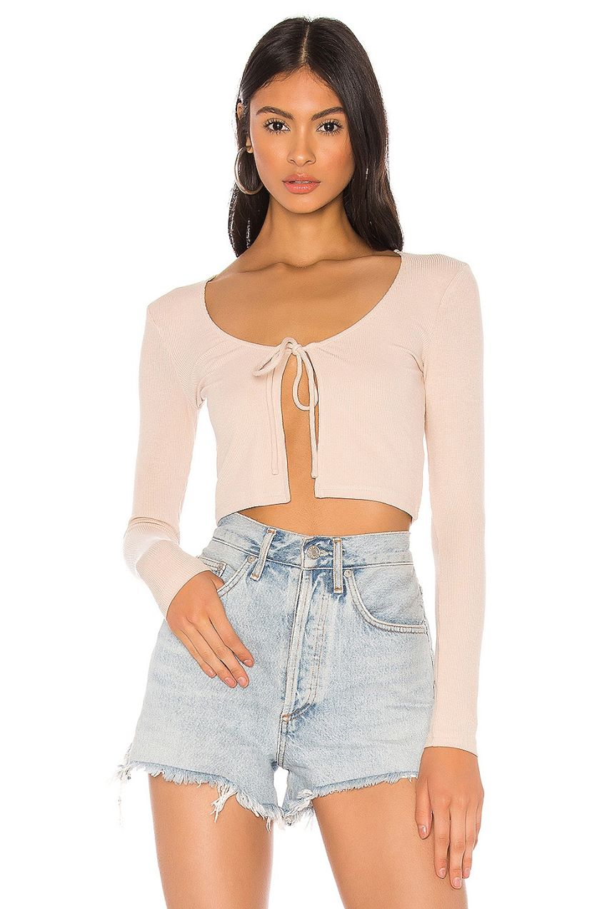 x Draya Michele Elani Tie Front Crop Top