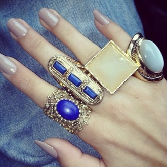 jewels ring armor ring blue ring fashion