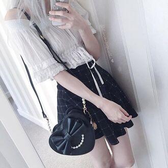 bag monochrome monochrome outfit pale pale goth pale grunge kawaii kawaii grunge kawaii bag kawaii dark soft grunge black and white cute plaid blouse skirt purse black bag pearl