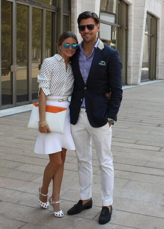 skirt flop skirt olivia palermo fashion week white polka dots high street style shoes blouse bag sunglasses