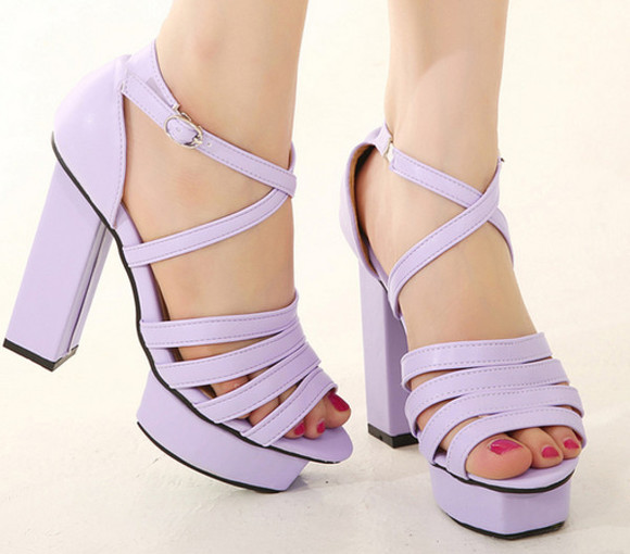shoes high heels white summer sandals purple