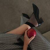 socks,tumblr,fishnet socks,shoes,black shoes,glove heels,mid heel pumps,mules,pants,printed pants,houndstooth