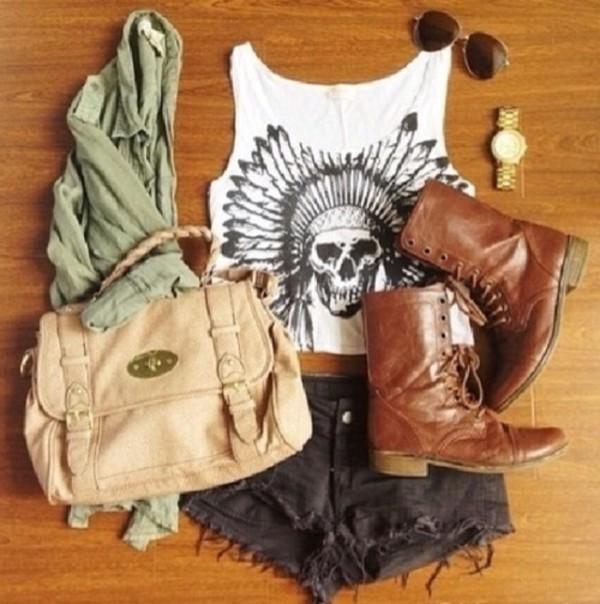 bag beige tank top shirt skull indian tank top shorts boots