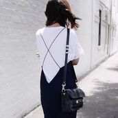 dress,spaghetti straps dress,spaghetti strap,blue dress,t-shirt,white t-shirt,bag,black bag,summer outfits,summer dress,proenza schouler,black dress,backless dress,black shoulder bag,criss cross,criss cross back