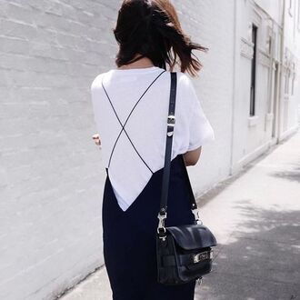 dress spaghetti straps dress spaghetti strap blue dress t-shirt white t-shirt bag black bag summer outfits summer dress proenza schouler black dress backless dress black shoulder bag criss cross criss cross back