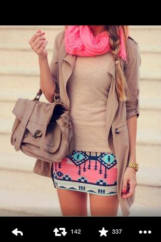 pink aztec skirt skirt clothes bag jacket shirt pink aztec print scarf