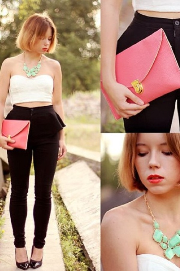pants peplum bag shirt