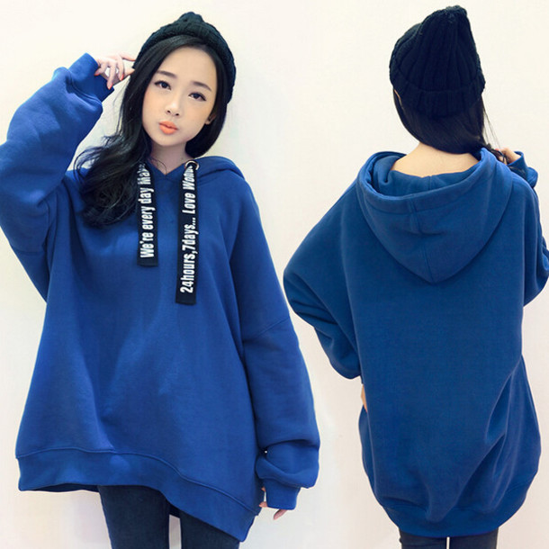 Sweater: blue, hoodie, long sleeves, fashion, style, fall outfits ...