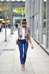vogue haus,blogger,jacket,shirt,jeans,shoes,bag,sunglasses,jewels,chloe faye bag,grey jacket,suede jacket,t-shirt,white t-shirt,denim,blue jeans,boots,nude boots