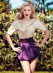 shirt,scarlett johansson,nude,summer,model & actress,skirt,mini skirt,purple,violet