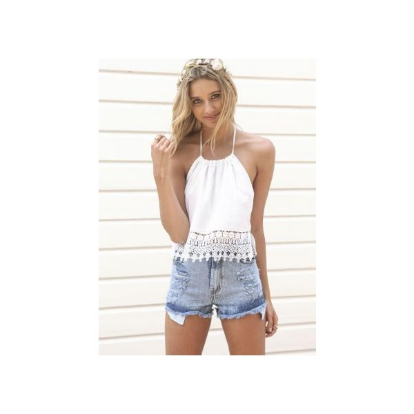 White Halter Crop Top with Crochet Hem Detail & Open Back - Polyvore