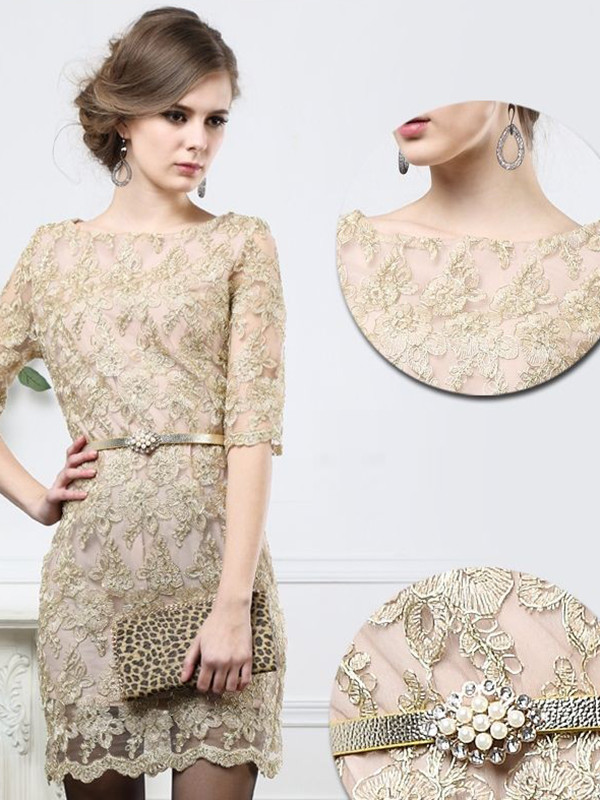dress lace dress beige luxury dress