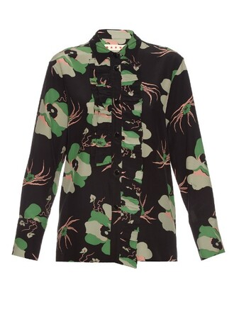 blouse floral print silk black top