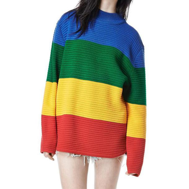 sweater rainbow sweatshirt shirt top wool winter outfits stripes pullover