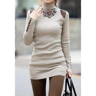 dress cute girly nude fall outfits winter outfits sweater fashion style long sleeves