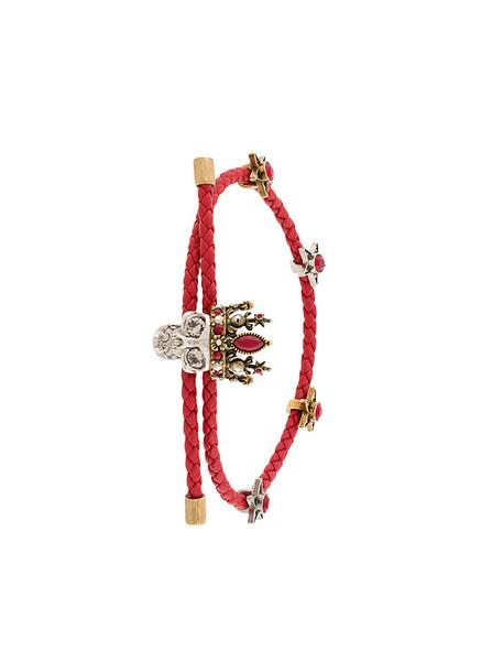 Alexander Mcqueen braided bracelet skull metal women braided leather red jewels