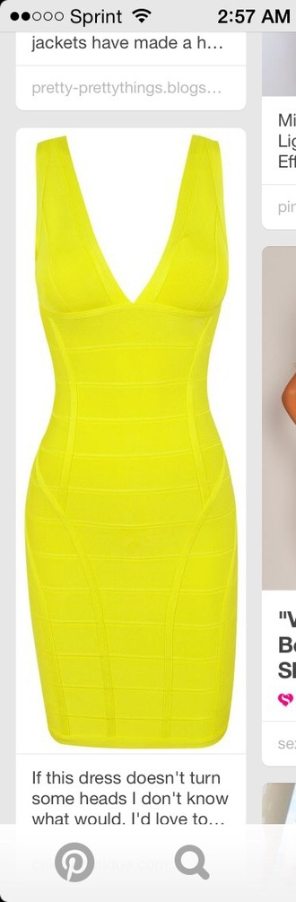 dress yellow dress yellow summer dress summer party dress party outfits sexy dress neon bodycon dress bandage dress mini dress cute dress style fashion chic pretty