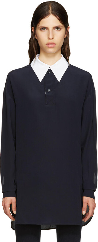 shirt collar shirt navy silk top