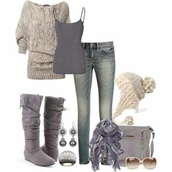 shoes,blue grey,hat,cream and knitted,sweater,knit,shirt,grey,white,boots,sunglasses,purse,handbag