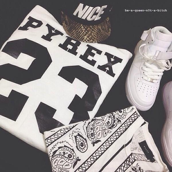 t-shirt pyrex bandana white top snapback bandana print blouse black shirt