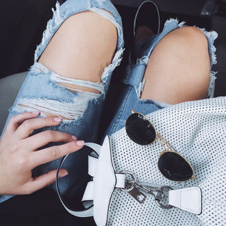 bag tumblr backpack white backpack sunglasses rayban ripped jeans blue jeans jeans denim
