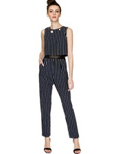 jumpsuit,pin stripe jumpsuit,stripe jumpsuit,crop jumpsuit,pixie market,day to night,navy jumpsuit,pixie market girl