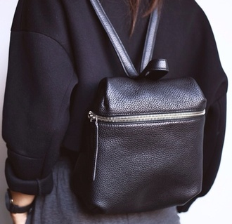 bag backpack black leather leather bag zip silver sweater