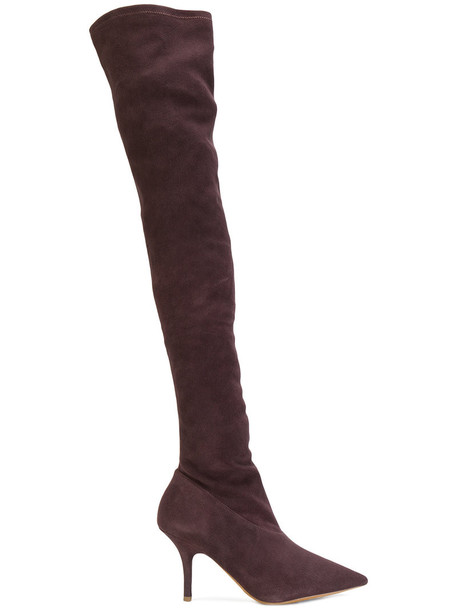 yeezy high women thigh high boots leather suede red shoes
