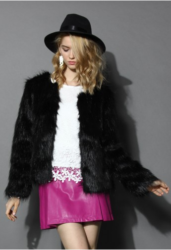 My Chic Faux Fur Coat in Black - Retro, Indie and Unique Fashion