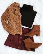 jacket,brown jacket,skirt,red skirt