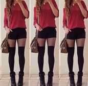 sweater,shorts,underwear,shoes,combat boots,stockings,tights,pants,burgundy,burgundy sweater,shirt,dress,little black dress,black lace dress,white,black,bag,socks,knee high,black shorts,black pants,short shorts,cute outfits,summer outfits,summer shorts,style,fashion,off the shoulder sweater,off the shoulder,off the shoulder top,red,red sweater,top,t-shirt,fall sweater,fall outfits,spring,spring outfits,spring dress,blouse,coat,nice