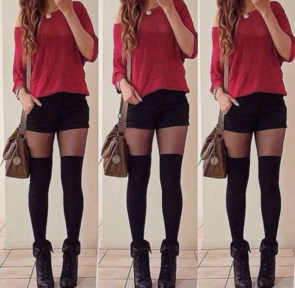 sweater shorts underwear shoes burgundy burgundy sweater shirt bag socks