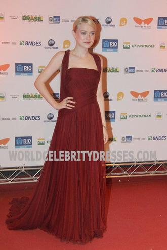 dakota fanning red chiffon red carpet dress replica premiere of 'night moves' .....