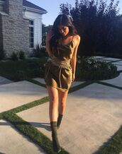 dress,camisole,cami dress,olive green,kylie jenner,summer,summer outfits,summer dress,boots,belt,kardashians,shoes,green dress,satin dress,sexy boots,waist belt,wide waist belt,strappy dress,khaki,khaki boots,high heels boots