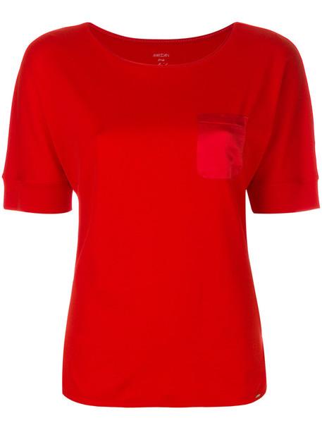Marc Cain t-shirt shirt pocket t-shirt t-shirt women spandex cotton silk red top