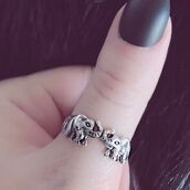 jewels,cherry diva,knuckle ring,ring,elephant,boho,bohemian,silver,silver ring,silver jewelry